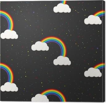 Night sky fantasy kid seamless pattern. Star confetti, clouds and rainbow boy grey wallpaper and fabric design. Canvas Print