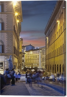 Night streets of Florence, Italy Canvas Print