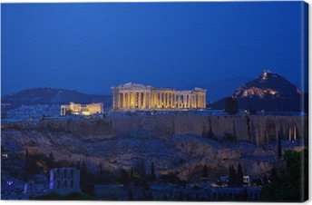 Night view of Acropolis, Athens, Greece Canvas Print