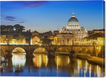 Night view of Basilica St Peter and river Tiber in Rome in Italy Canvas Print