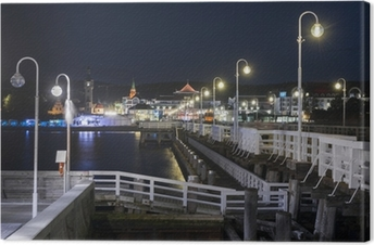 Night view of Molo pier and Sopot city in Poland Canvas Print