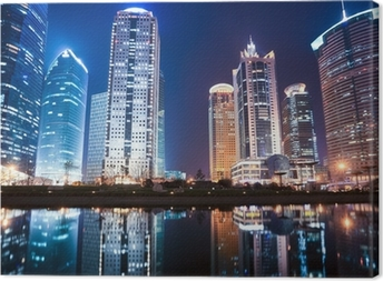 night view of shanghai financial center district Canvas Print