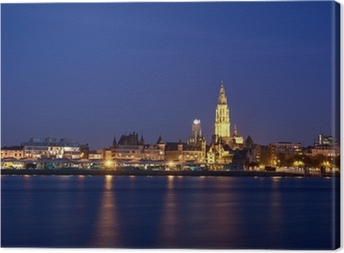 Night view over City of Antwerp Canvas Print