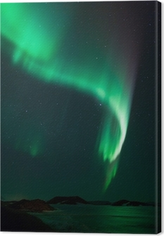 Northern lights over frozen lake Myvatn in Iceland Canvas Print