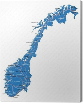 Norway map Canvas Print