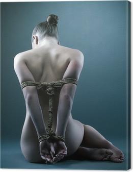 Nude woman with shibari in studio Canvas Print