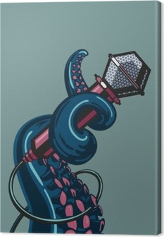 Octopus tentacle is holding a microphone. The template for music posters Canvas Print