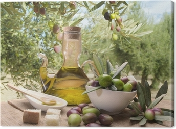 Oil and olives Canvas Print