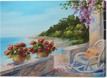 oil painting - balcony near the sea Canvas Print