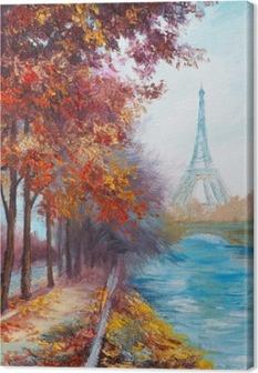 Oil painting of Eiffel Tower, France, autumn landscape Canvas Print