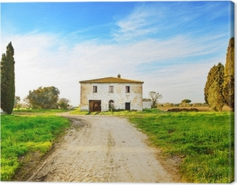 Old abandoned rural house, road and trees on sunset.Tuscany, Ita Canvas Print