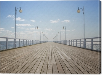 Old empty wooden pier over the sea shore with copy space Canvas Print
