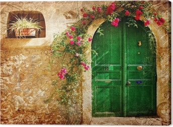 old Greek doors - retro styled picture Canvas Print