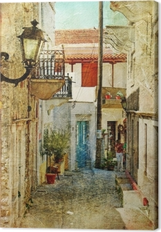 old greek streets- artistic picture Canvas Print