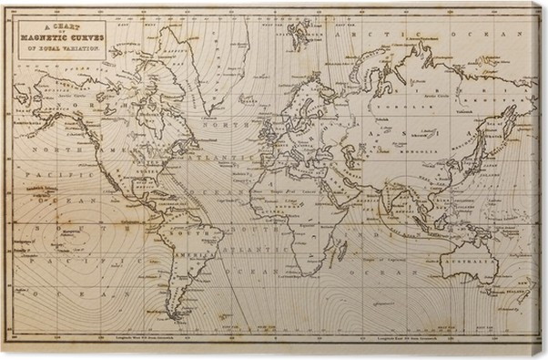 Old hand drawn vintage world map Canvas Print • Pixers® • We live to ...