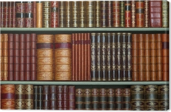 Old library of vintage hard cover books on shelves Canvas Print