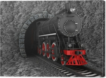 Old locomotive in tunnel Canvas Print