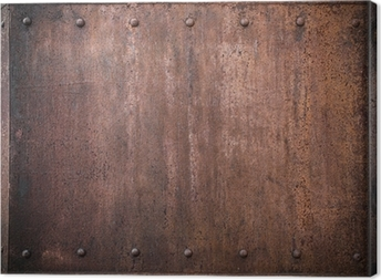 old metal background with rivets Canvas Print