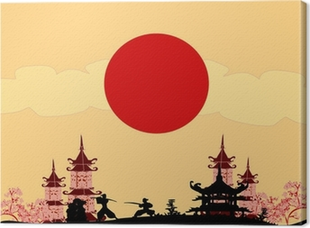 old paper with Samurai silhouette Canvas Print