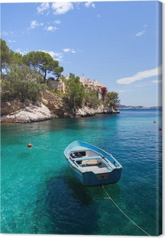 Old Rowboat Moored in Cala Fornells, Majorca Canvas Print