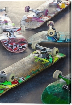 Old Skateboards Canvas Print