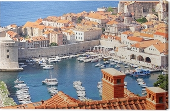 Old town Dubrovnik and the marina Canvas Print