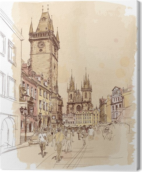 Old town square prague czech republic a vector sketch canvas print prague