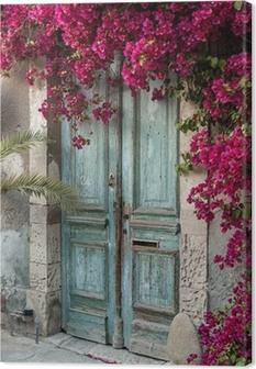 Old wooden door with bougainvillea in Cyprus Canvas Print & Imitation Door Canvas Prints u2022 Pixers®