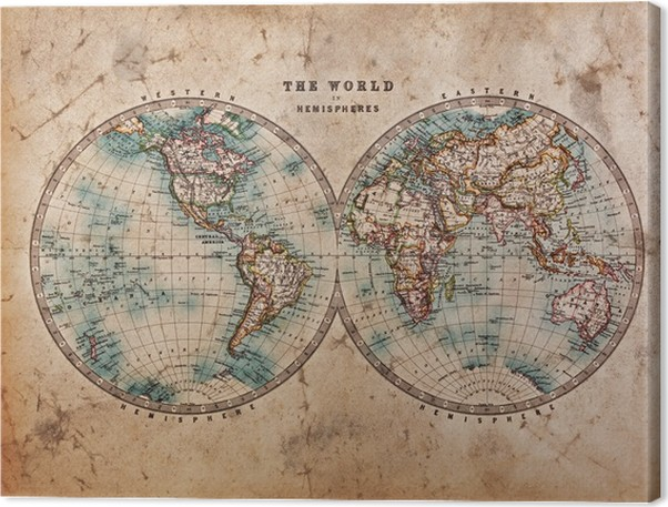 Old world map in hemispheres canvas print pixers we live to change old world map in hemispheres canvas print gumiabroncs Choice Image
