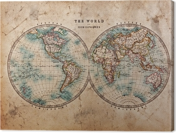 Old antique world map on mercators projection canvas print pixers old world map in hemispheres canvas print gumiabroncs Image collections