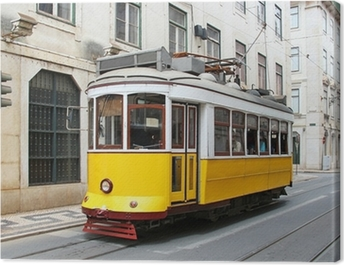 Old yellow Lisbon tram, Portugal Canvas Print