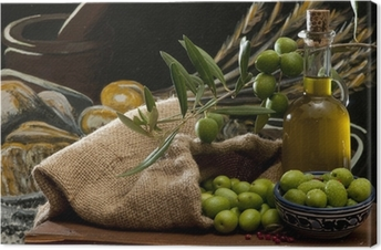 olives and oil Canvas Print