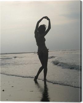 ombre femme sur plage Canvas Print