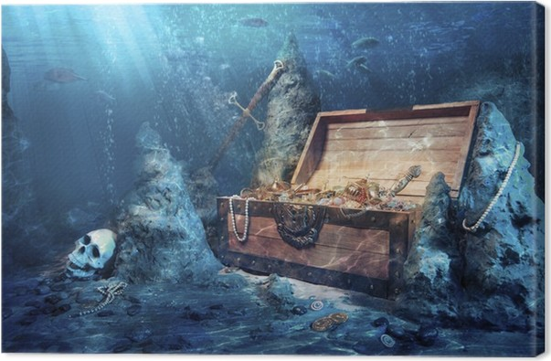 open treasure chest with bright gold underwater canvas print