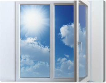 Open window against a white wall and the cloudy sky and sun Canvas Print