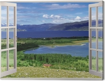 Open window view to landscape with river, hills and fields Canvas Print