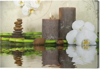 Orchidee weiß mit Bambus und Kerzen und Steinen Canvas Print