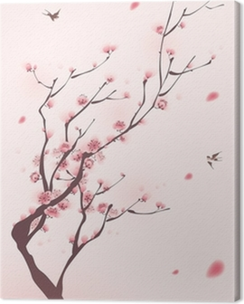 oriental style painting, cherry blossom in spring Canvas Print