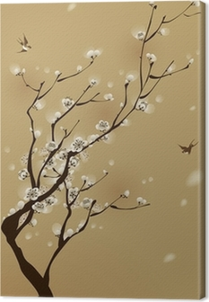 oriental style painting, plum blossom in spring Canvas Print