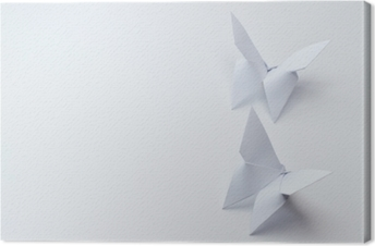 origami butterflies on white background Canvas Print