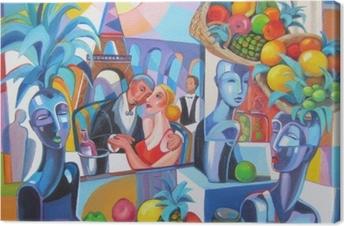 Original oil painting Restaurant in Paris Canvas Print
