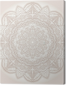 ornamental round lace pattern, circle background with many detai Canvas Print