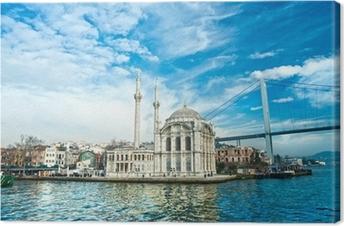 Ortakoy mosque and Bosphorus bridge, Istanbul, Turkey. Canvas Print