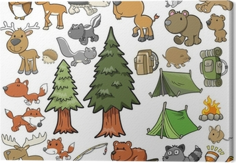Outdoors Wildlife Camping Vector Design Set Canvas Print