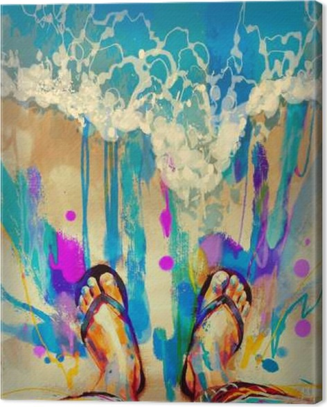 painting of colorful feet with flip flops on sandy beach canvas