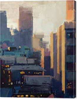 painting of skyscrapers at sunset Canvas Print
