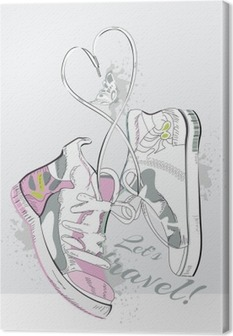 Pair of sneakers with laces in the form of heart. Hand drawn vector illustration. Canvas Print