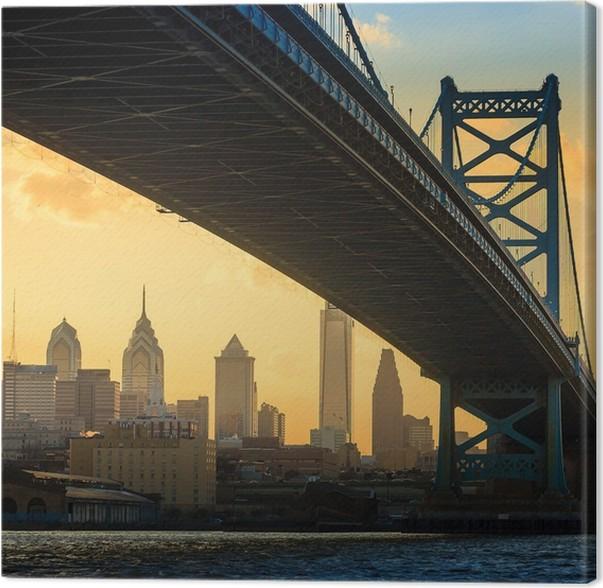 Panorama of Philadelphia skyline, Ben Franklin Bridge and Penn\'s ...