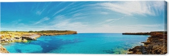 Panorama of the bay with rocky shores, Mallorca, Spain Canvas Print