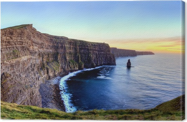 panoramic view of cliffs of moher at sunset in ireland canvas print